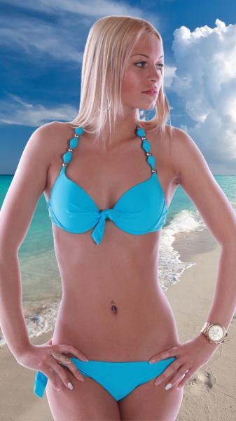 Neckholder Bikini Beach Hellblau