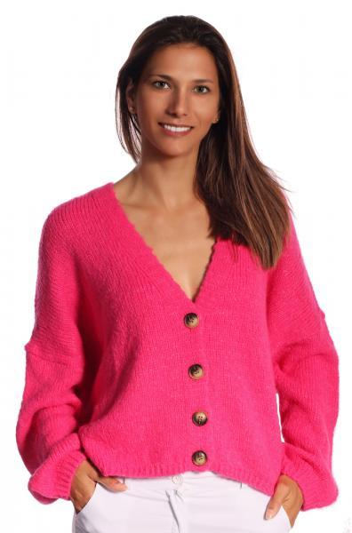 Cardigan, Strickjacke kurz zum Knöpfen Oversize Look Pink