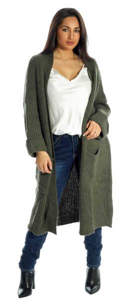 Cardigan Maxi, Strickjacke mit großen Taschen unifarben im Oversize Look Olivegrün