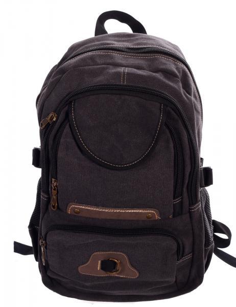 Rucksack Canvas Backpack für Urlaub Freizeit Wandern Climbing Sport und Schule Anthrazit