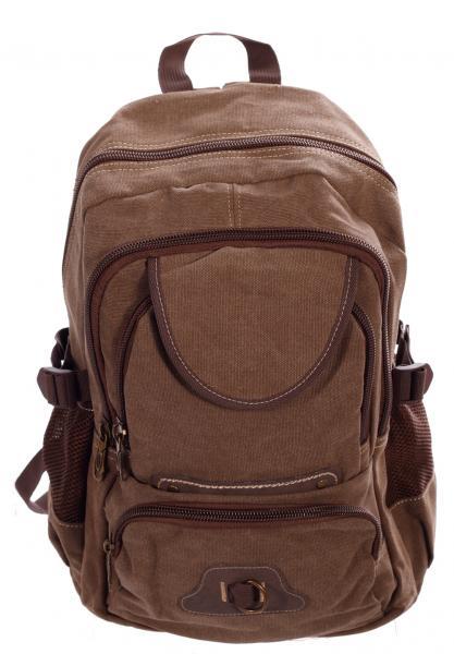 Rucksack Canvas Backpack für Urlaub Freizeit Wandern Climbing Sport und Schule Braun