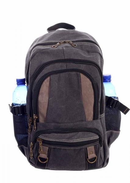 Rucksack Canvas Backpack für Urlaub Freizeit Wandern Climbing Sport und Schule Dunkelgrau