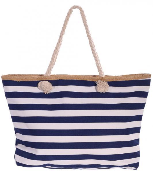 Strandtasche mit viel Platz Blau Weiss gestreift