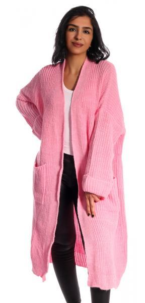 Cardigan Maxi, Strickjacke mit großen Taschen unifarben im Oversize Look Pinkrosa