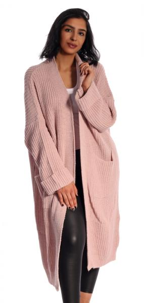 Cardigan Maxi, Strickjacke mit großen Taschen unifarben im Oversize Look Altrosa