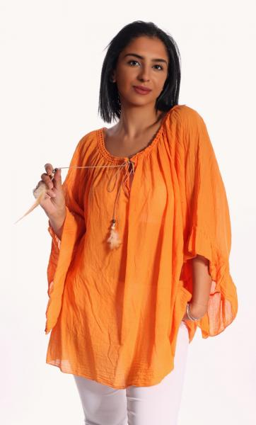 Tunika Bluse dreiviertelarm mit Feder - Quastenschnürung Oversize 36 - 48 Orange