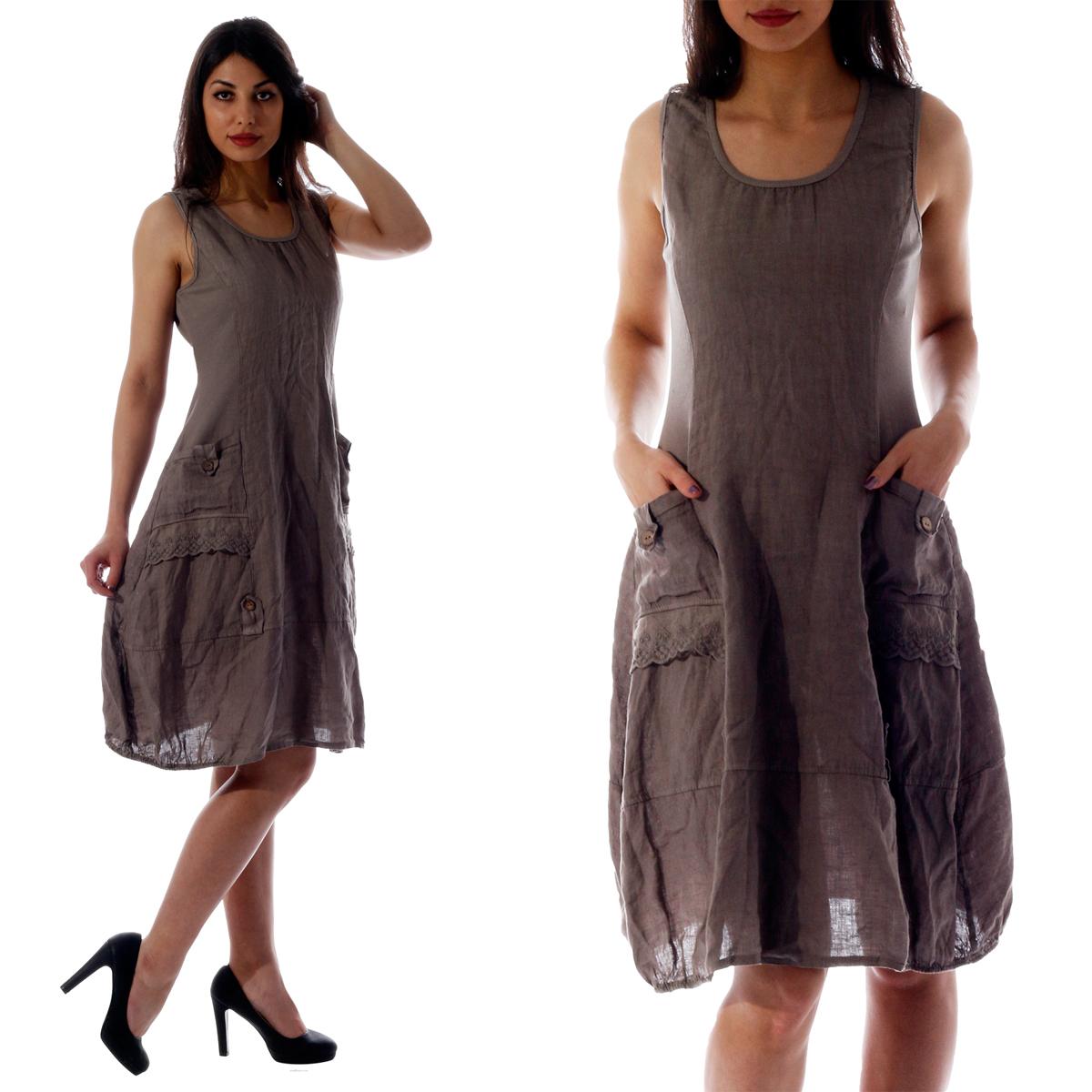 Leinen Kleid in vielen Farben und Größen - Damen Mode auch in großen ...