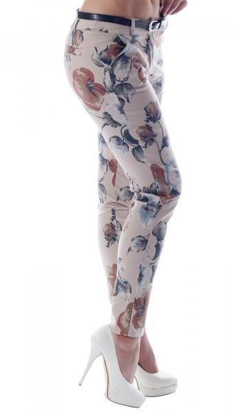 Chino Hose Flower Print Skinny Style Beige