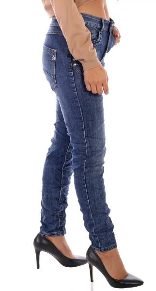 KAROSTAR Baggy Damen Jeans 4 Button Style New Collection in Dunkelblau Gr. 38 - 48
