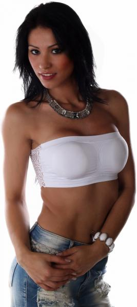 Push Up Bandeau Tops Weiss
