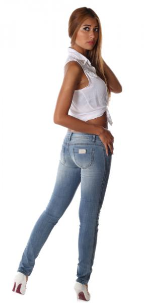 Jeans Skinny Destroyed Three Button Low Waist