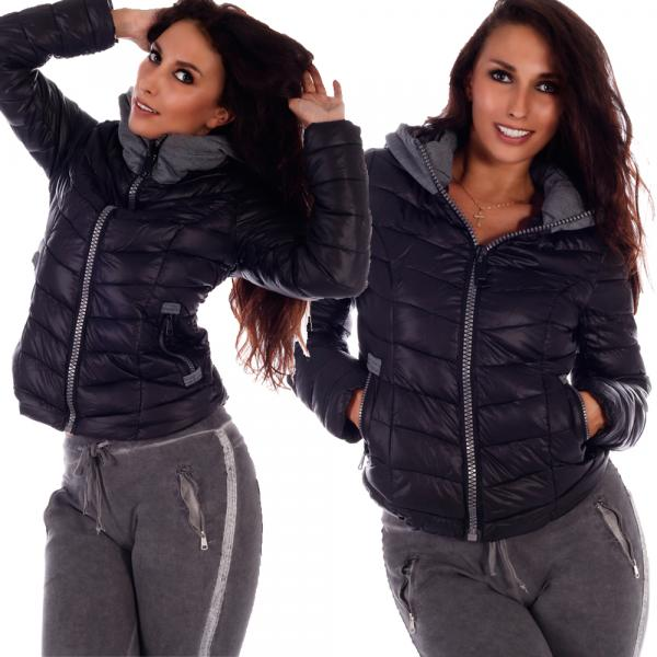 Damen Steppjacke Big Zipper mit Kapuze Schwarz