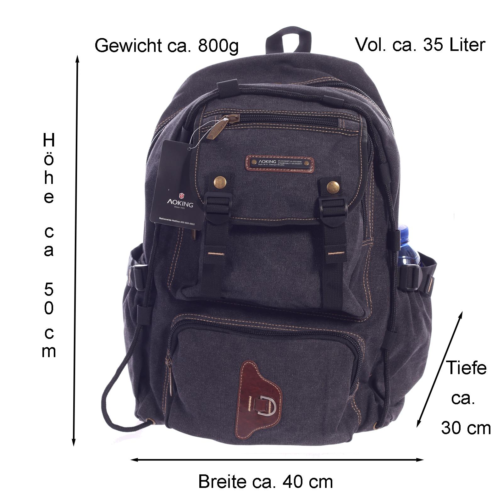 Rucksack Canvas von Aoking Backpack für Urlaub Freizeit Wandern Climbing Sport und Schule Schwarz
