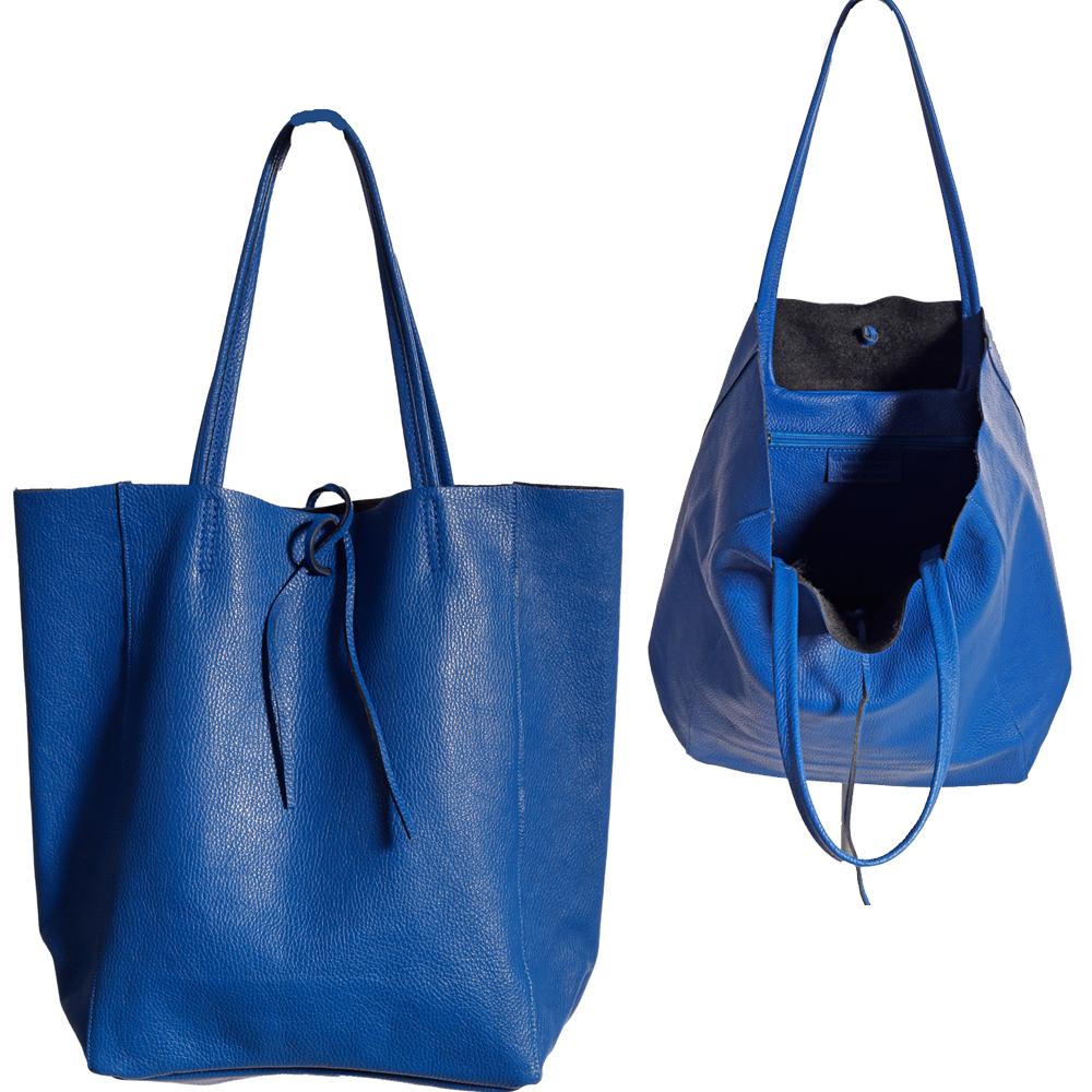 Shopper Henkeltasche mit großer Innentasche aus weichem Leder Royalblau
