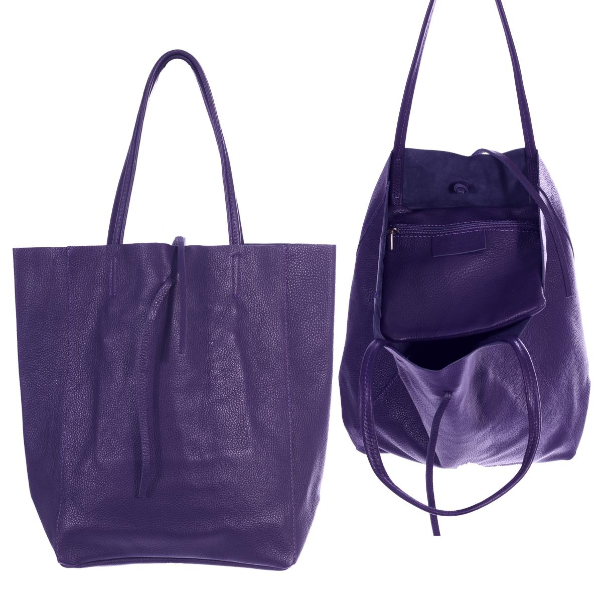 Shopper Henkeltasche mit großer Innentasche aus weichem Leder Lila