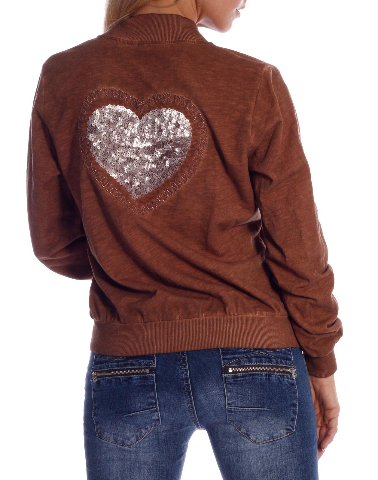 Niedriger Verkaufspreis am besten geliebt Top-Mode Cardigan Blouson im Vintagestyle Rostbraun mit Pailletten Herz auf dem  Rücken