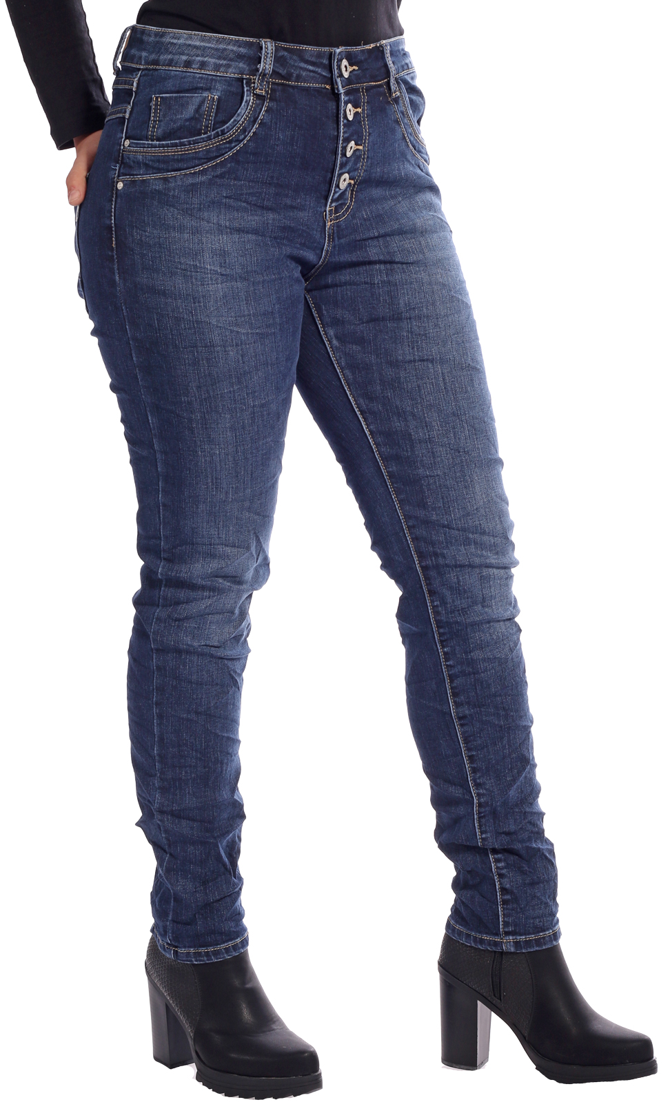 KAROSTAR Baggy Damen Jeans 4 Button Style Jeansblau New Collection Gr 38-48