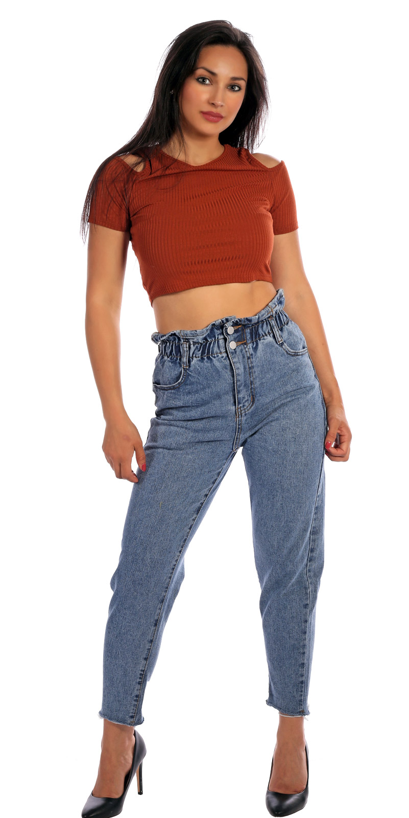 Jeans Paperbag Baggy Style Jeansblau