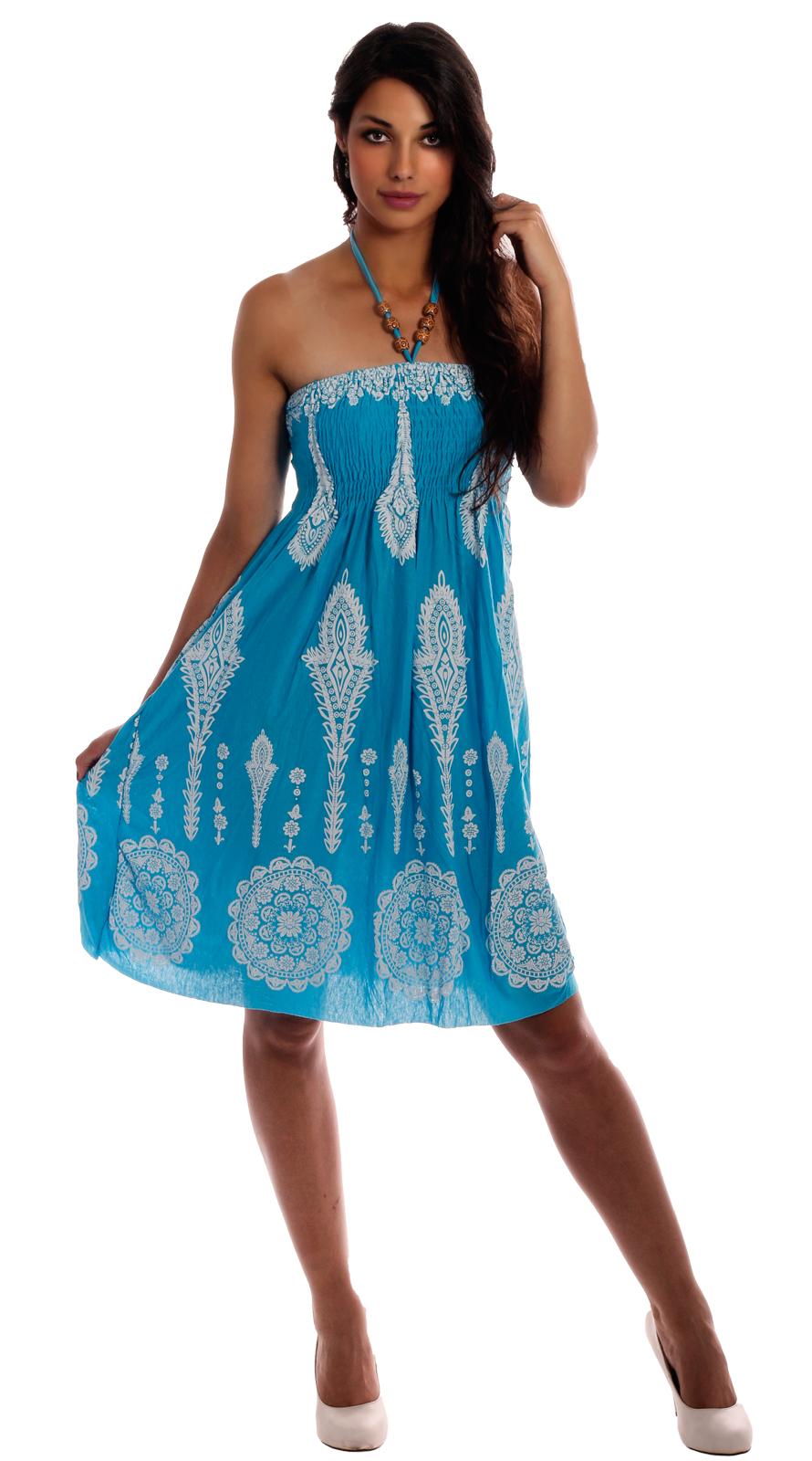 sommerkleid strandkleid neckholder hellblau