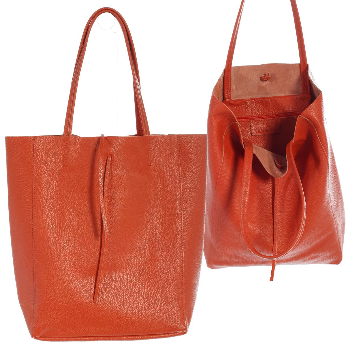 Shopper Henkeltasche mit großer Innentasche aus beschichtetem Leder Senf Orange
