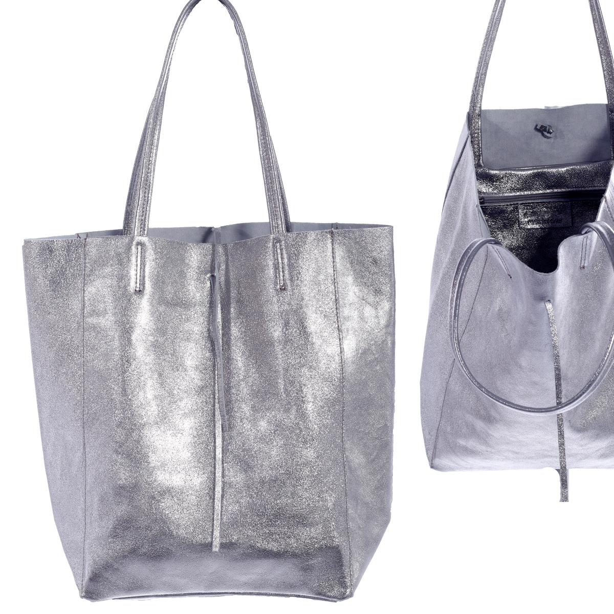 Shopper Henkeltasche mit großer Innentasche aus beschichtetem Leder Silber