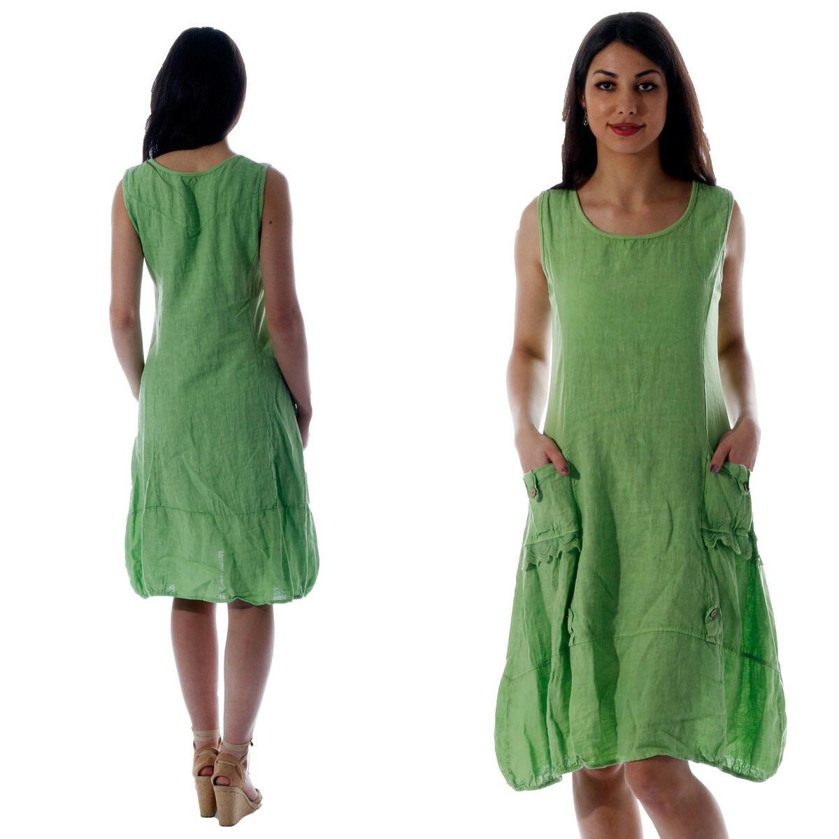 Damen Leinen Kleid ärmellos mit schönen Details Apfelgrün