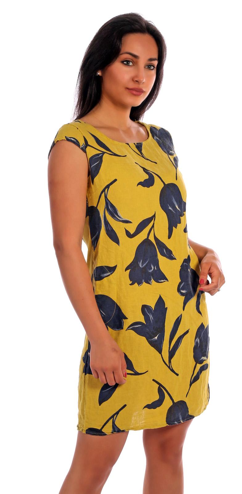 leinen kleid kurzarm hot summer days exotic tulip - mode aus