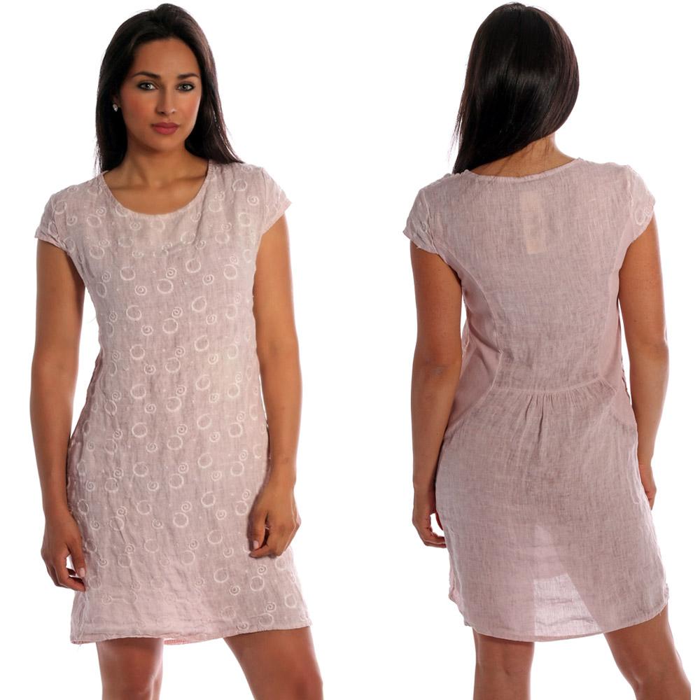 Leinen Kleid vorne  mit dekorativer Stickerei kurzarm mit Taschen Rosa