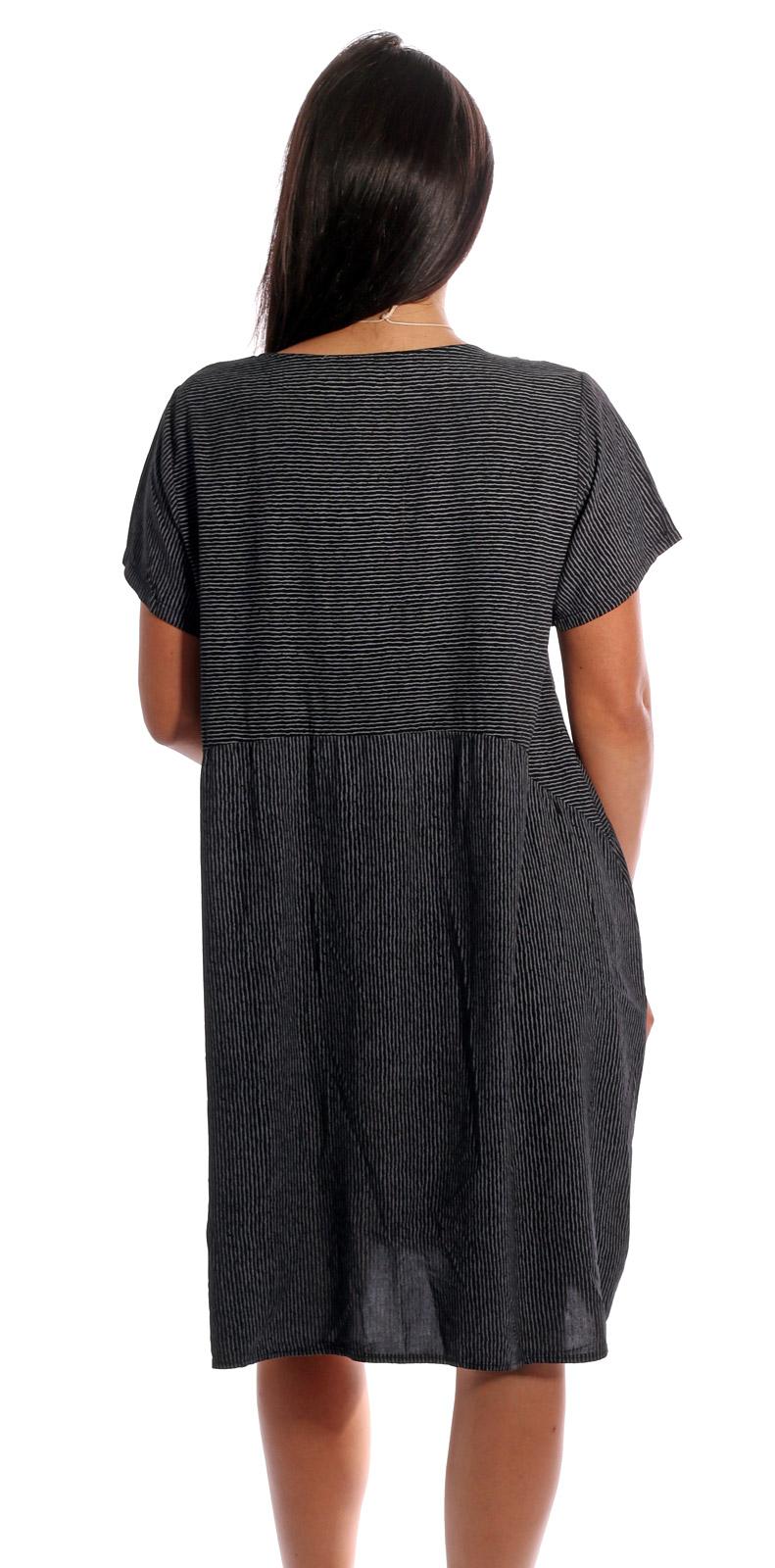 kleid, sommerkleid kurzarm gestreift mit modeschmuckkette schwarz