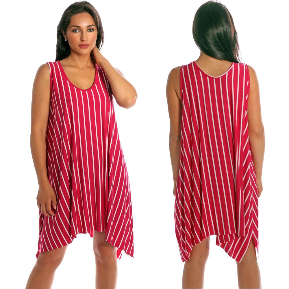 Tunika Minikleid asymmetrisch im Streifen-Design Pink-Weiß