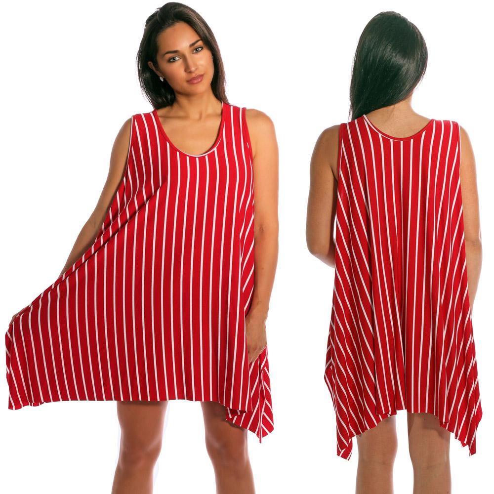 Tunika Minikleid asymmetrisch im Streifen-Design Rot-Weiß
