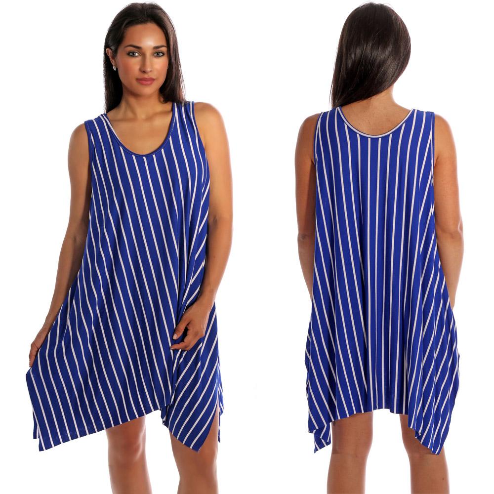 Tunika Minikleid asymmetrisch im Streifen-Design Royalblau-Weiß