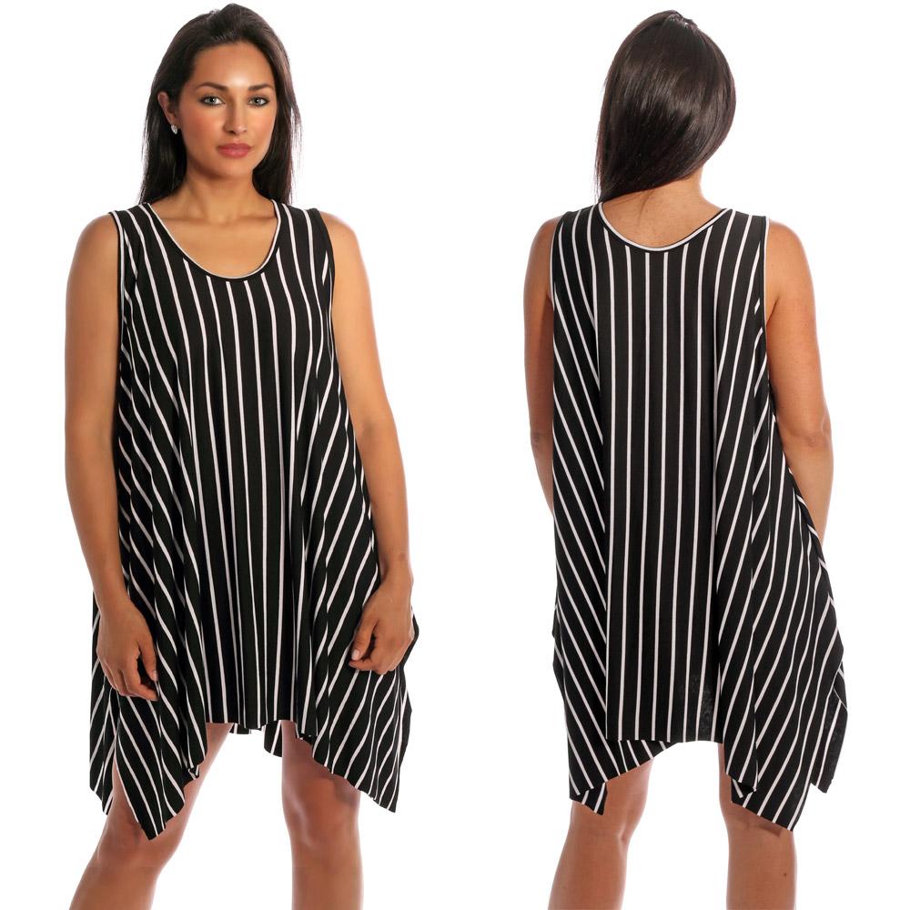 Tunika Minikleid asymmetrisch im Streifen-Design Schwarz-Weiß
