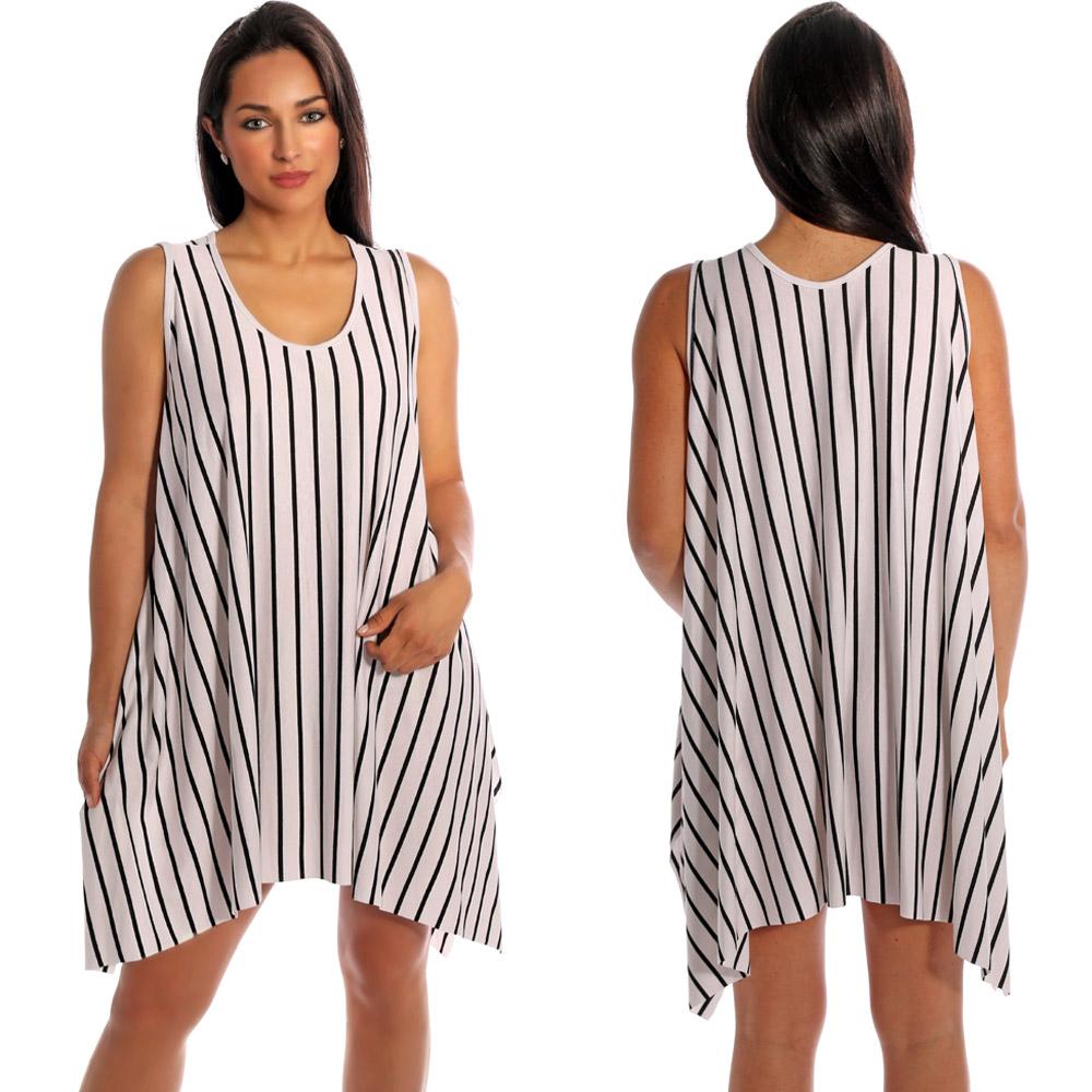 Tunika Minikleid asymmetrisch im Streifen-Design Weiß-Schwarz