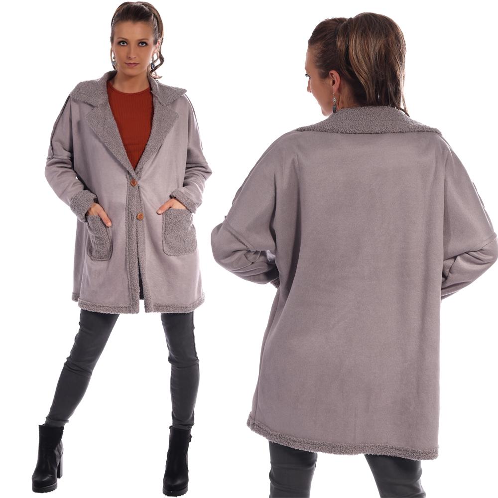 Mantel großen mit Ziernähten, Manschetten,Taschen und Kragen in Bouclè-Optik Grau