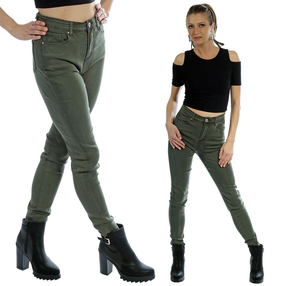 Jeans Hose High Waist Unifarben im 5 - Pocket Style auch in großen Größen Olivegrün