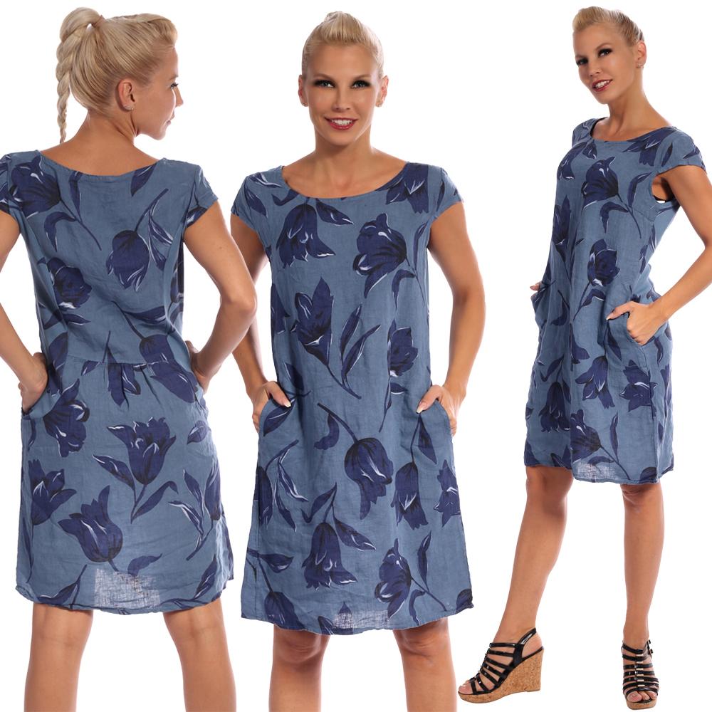 Leinen Kleid Sommerkleid Knielang Tulip Druckdesign A-Linie Jeansblau