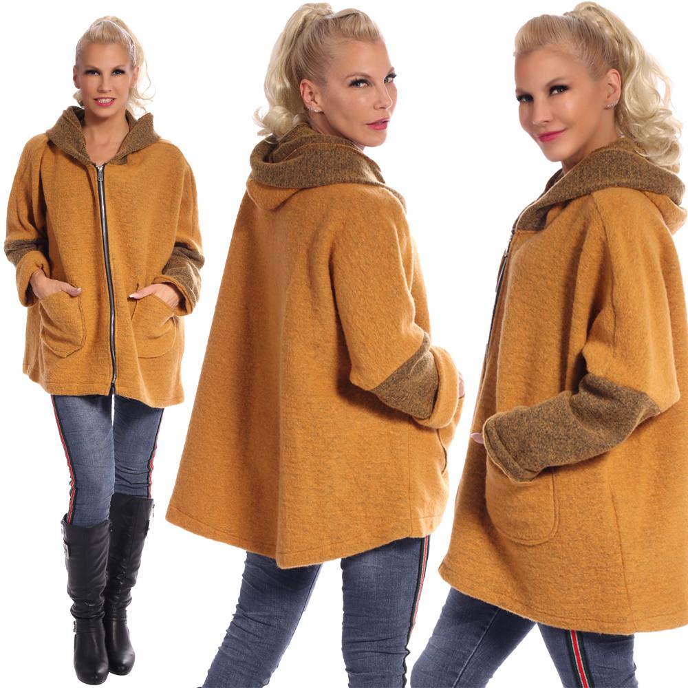 Damen Wollmantel Big Zipper mit Kapuze Einheitsgröße: 36 - 42 Senfgelb