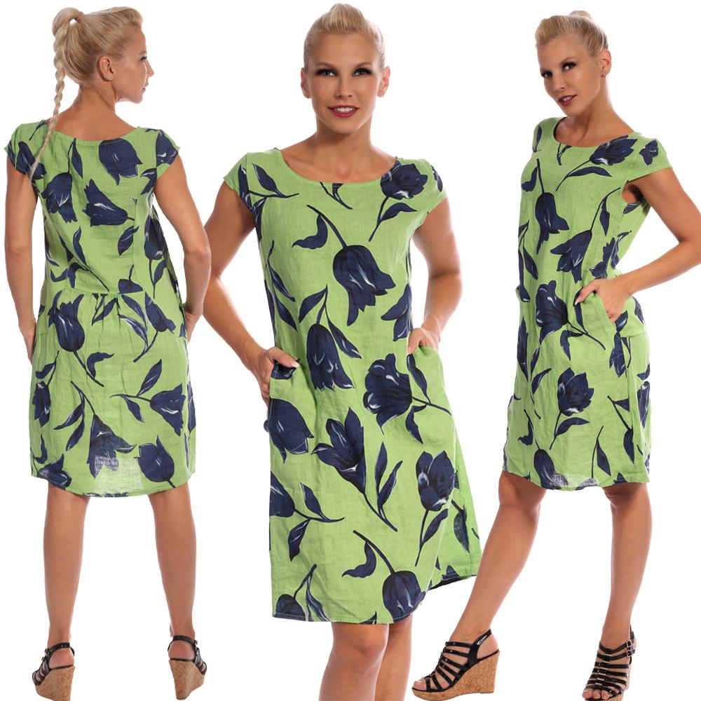 Leinen Kleid Sommerkleid Knielang Tulip Druckdesign A-Linie Apfelgrün