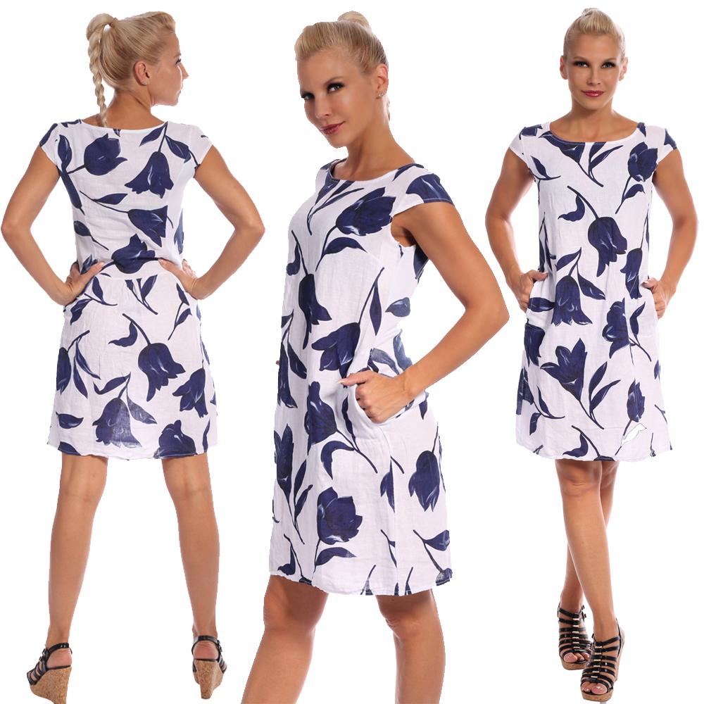Leinen Kleid Sommerkleid Knielang Tulip Druckdesign A-Linie Weiß