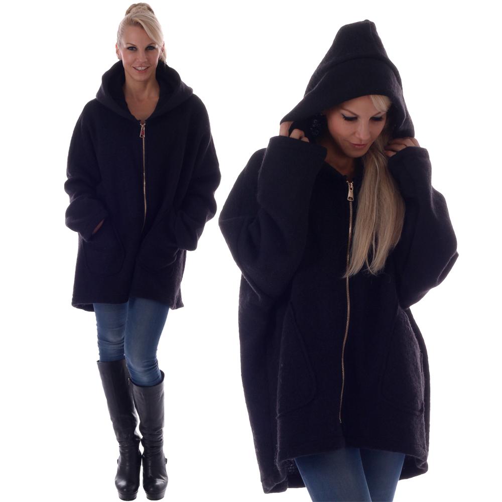Damen Wollmantel Big Zipper mit Kapuze Einheitsgröße: 36 - 42 Schwarz