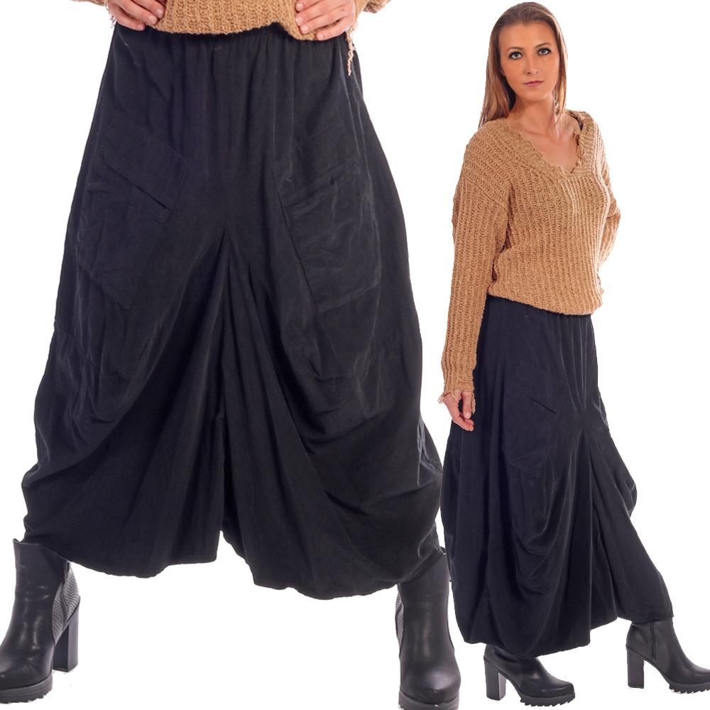 Maxi Rock Baumwolle Feincord Optik mit Gummibund und Taschen vorne Schwarz