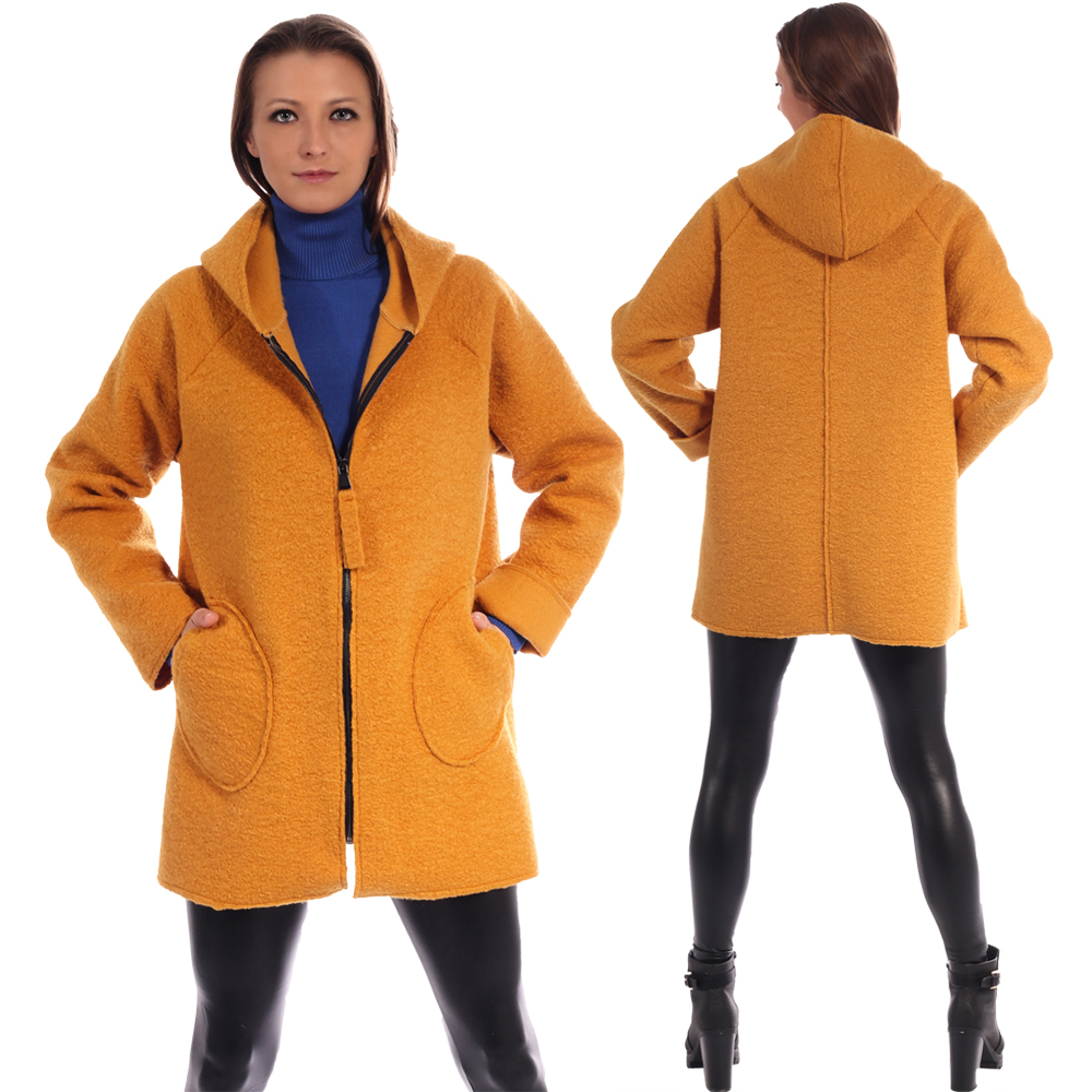 Jacke Oversize Big Zipper mit Kapuze und runden Taschen in Bouclé-Optik Senfgelb