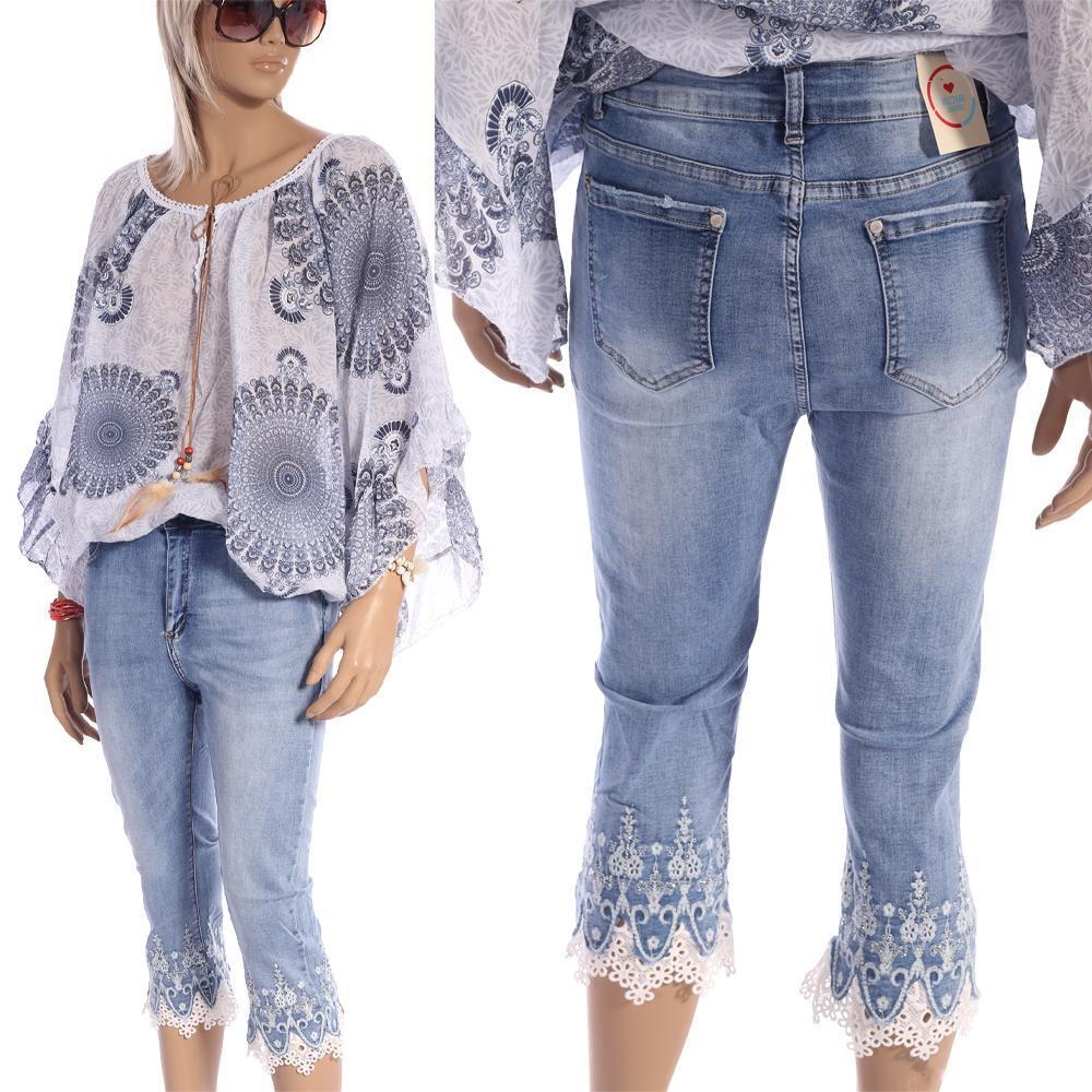 Jeans Damen Capri Hose - 7/8 Länge mit Häkelspitze-Strassstein Details von Mozzaar Blau