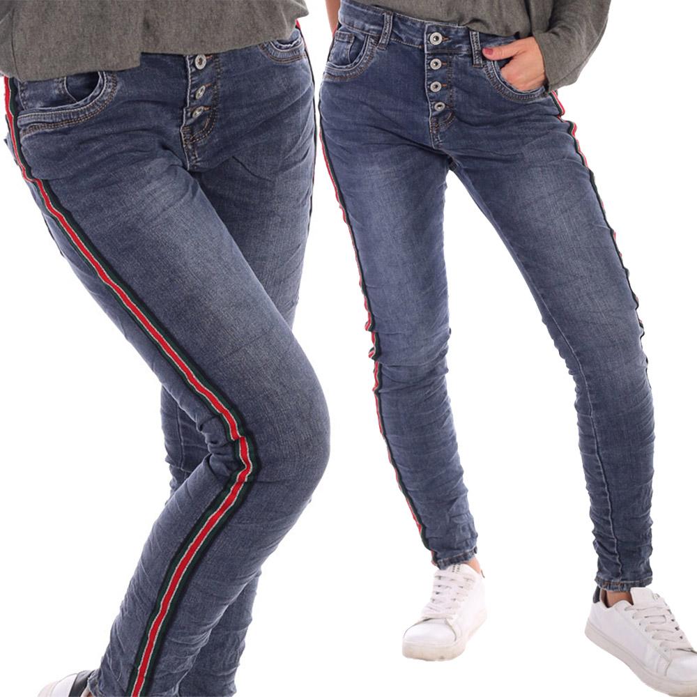 Jeans Baggy- Boyfriend Style im 5 - Pocket Look Streifen Größe 34 - 42 Jeansblau