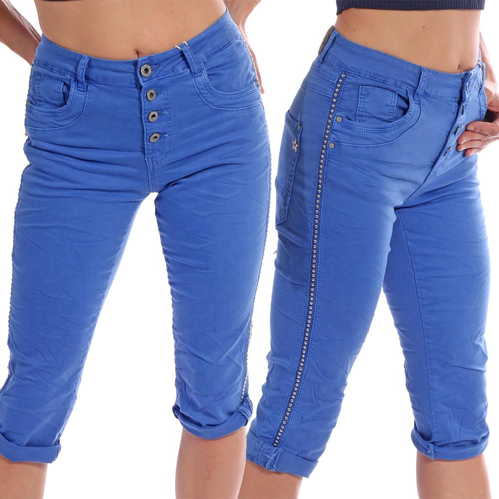 Baggy Jeans Damen Capri Cropped - 7/8 Länge Nietenstreifen Gr. 36 - 48 Blau