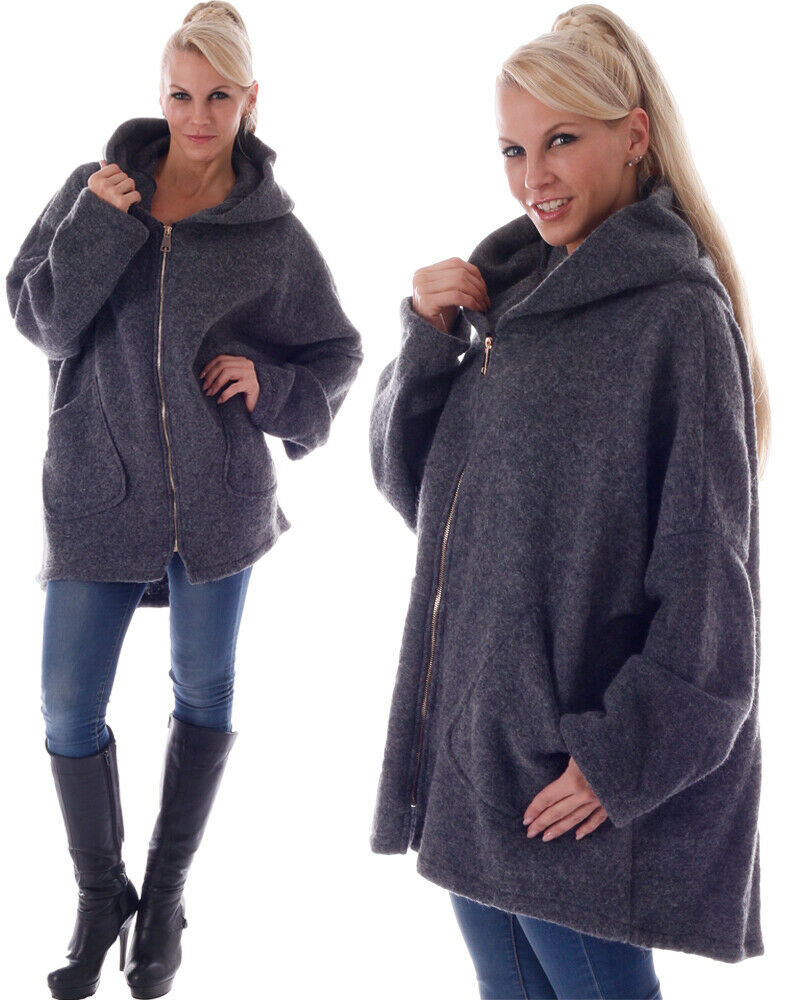 Damen Wollmantel Big Zipper mit Kapuze Einheitsgröße: 36 - 42 Anthrazit