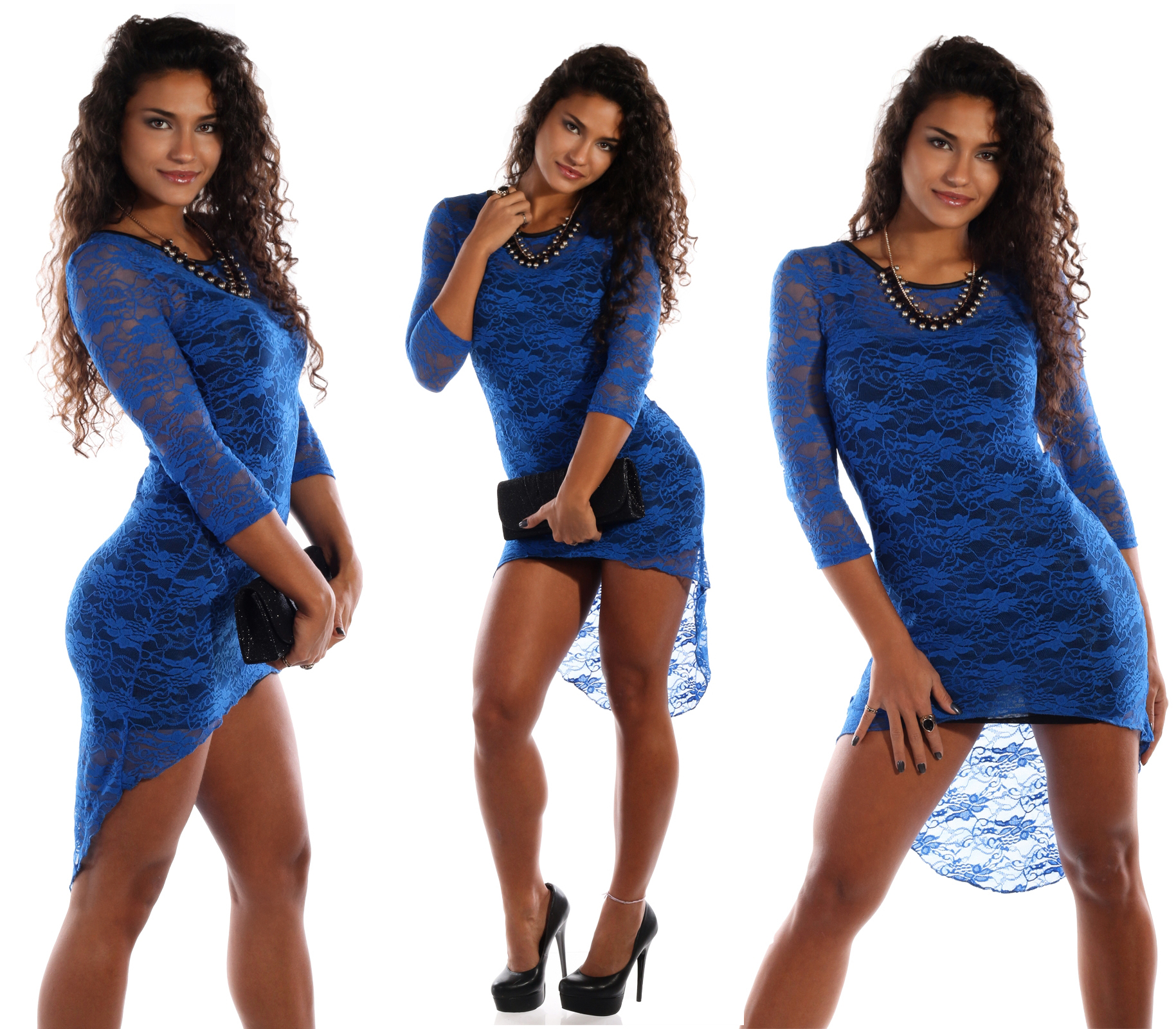 minikleid vorne kurz hinten lang spitzenoptik blau - mode