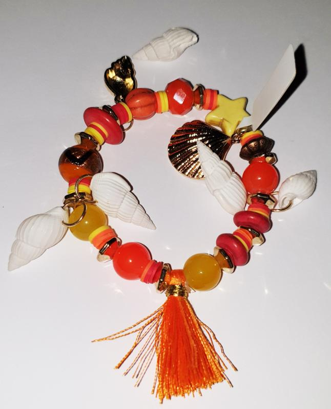 Armband Flexibel Bracelet Ibiza Orange Mediteran