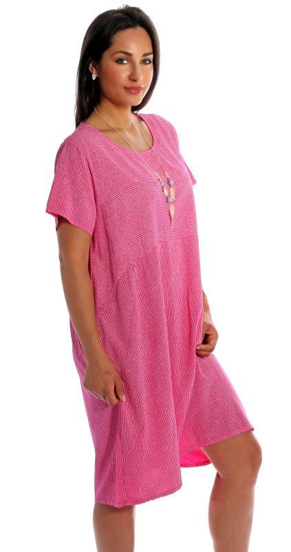 Kleid, Sommerkleid kurzarm gestreift mit Modeschmuckkette ...